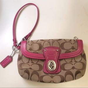 Coach Logo Wristlet with Pink Accent Leather
